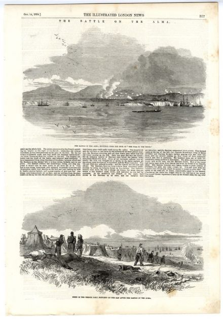 1854 Engraving THE BATTLE ON THE ALMA from sea and THE FRENCH CAMP The next Day